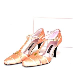 Escada High Heel Leather Shoes in Dark Coral Pink